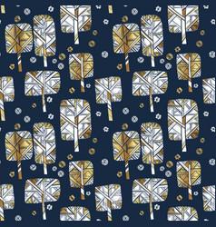 Silhouette winter tree luxury seamless pattern vector