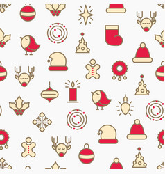 simple merry christmas symbols seamless pattern vector image