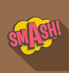 Smash comic text sound effect icon flat style vector