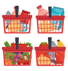 Supermarket shopping basket with groceries vector