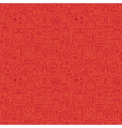Thin Line Holiday Christmas Red Seamless Pattern vector image