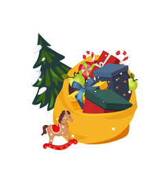toy bag full gifts and christmas tree holiday vector image