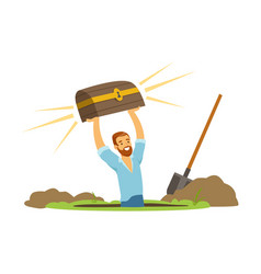 Treasure seeker holding old antique chest vector