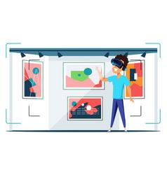 Virtual art gallery visit flat vector