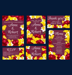 wedding engagement invitation cards with flowers vector image