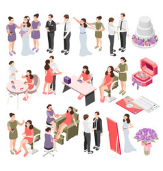 wedding planning isometric icons vector image