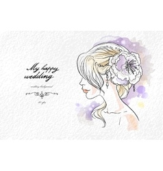 Wedding watercolor portrait of the bride vector image
