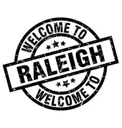 Welcome to raleigh black stamp vector