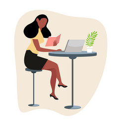 woman reading a book with computer concept vector image