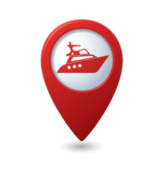 Yacht icon red map pointer vector
