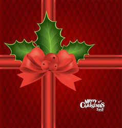 Christmas background with red bow vector image vector image