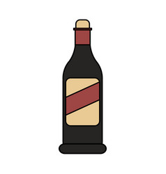 color image cartoon glass bottle of wine vector image