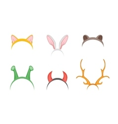 Headband with Ears Holiday Set vector image