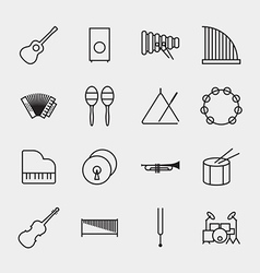 Music instrument icons outline vector image vector image