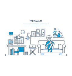 remote work as a freelancer workplace tools vector image vector image