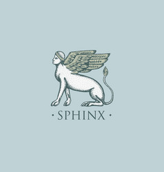sphinx logo ancient greece antique symbol vintage vector image vector image