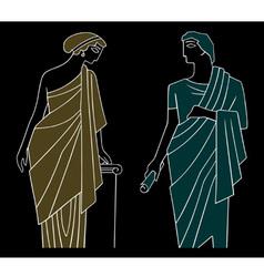 ancient greek man and woman vector image vector image