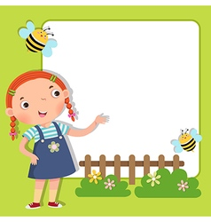 Background with cute girl vector image vector image