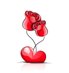 love heart roses vector image