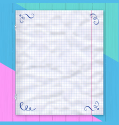 notebook page lined paper colorful background vector image vector image