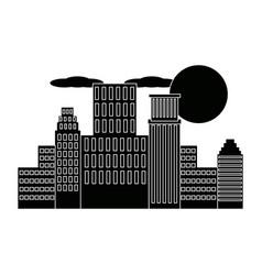 panorama picture of city skyline cloud sun vector image