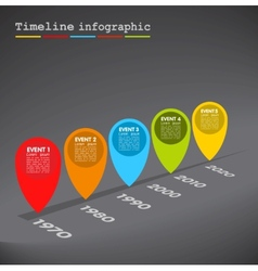 Dark Infographic timeline colorful bubbles vector image
