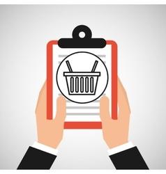 hand holding shop online basket vector image
