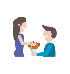 man gives flowers girlfriend - couple romantic vector image