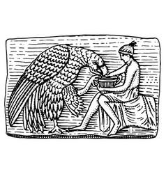 ganymeth and eagle ancient antique scene vintage vector image vector image
