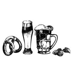 Oktoberfest set of beer hops and pretzel vector image vector image