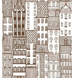 seamless city background with cute houses vector image