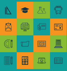 set of 16 education icons includes certificate e vector image vector image