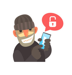 smiling cartoon hacker holding a hacked smartphone vector image