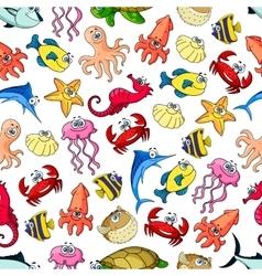 Underwater cartoon seamless pattern background vector image