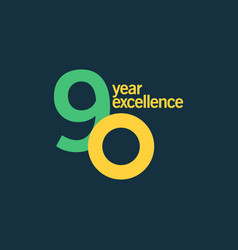 90 year excellence template design vector