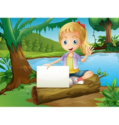 A girl sitting above log with an empty signage vector