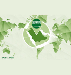 America centric world map with magnified saudi vector