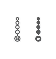 Anal beads line and glyph icon sex toy and adult vector