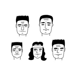 arnold face caricature set doodle line art vector image