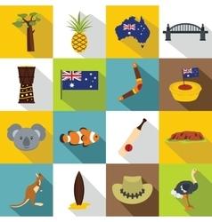 Australia travel icons set flat style vector
