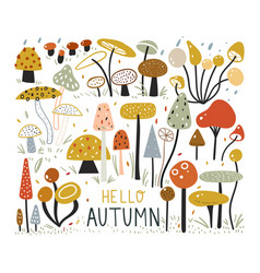 Autumn elements collection in flat style mushroom vector