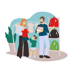 Back to school shopping and preparation parents vector