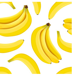 Banana seamless pattern ripe bananas isolated on vector