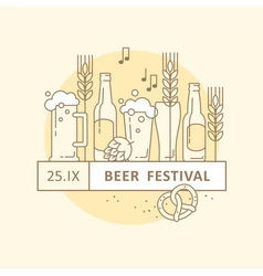Beer Festival Party Menu Linear Elements vector