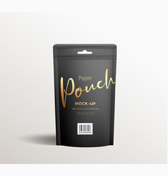 Black kraft paper pouch bags front view packaging vector