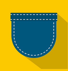 Blue jeans pocket icon flat style vector