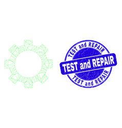 Blue scratched test and repair stamp seal and web vector