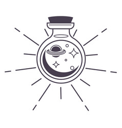 Bottle with magic potion or spell planets stars vector