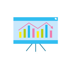 business statistic graph with documents vector image