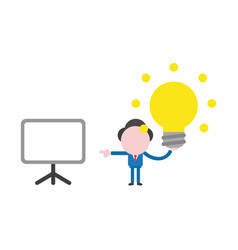 businessman character holding glowing light bulb vector image